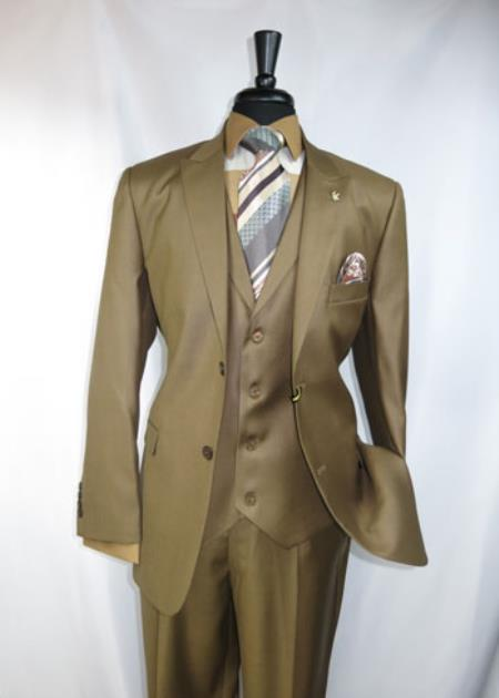 Product# RM1407 Falcone Brand Peak Lapel 4 Button Style Label Vest Athletic Cut 1940s Mens Suits Style Classic Fit  Jacket Light Brown