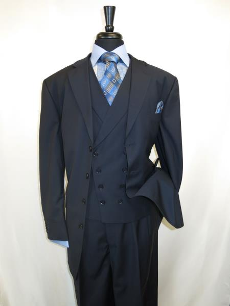 Mens Zoot Suit 4 Button Style Single Breasted Suit For sale ~ Pachuco men's Suit Perfect for Wedding Jacket Length (35 inch) Navy