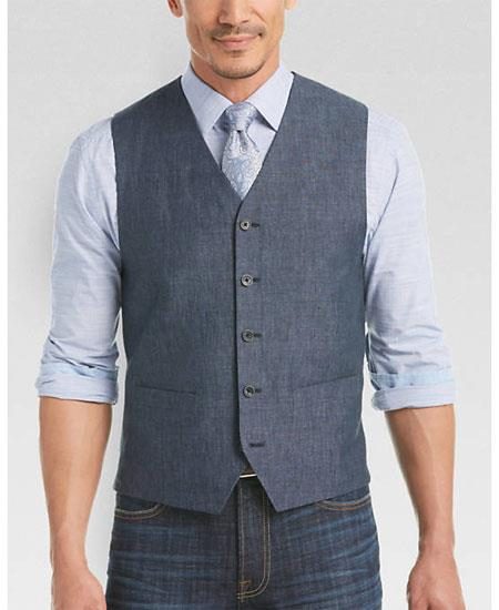 Product# GD1840 Men's 2 Piece Linen Causal Outfits Vest & Pants / Beach Wedding Attire For Groom
