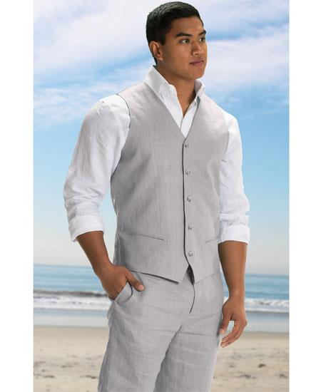 Men's 2 Piece Linen Causal Outfits Vest & Pants / Beach Wedding Attire For Groom