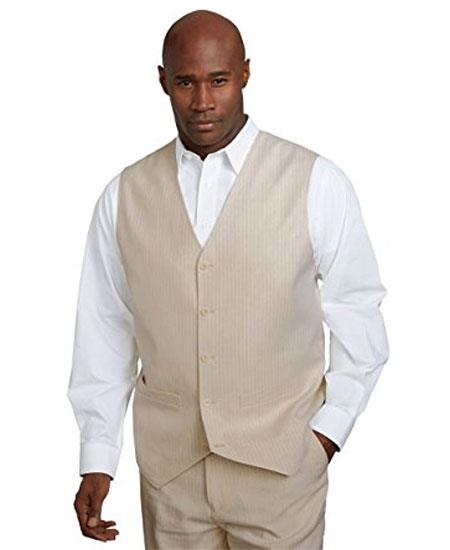 Men's 2 Piece Linen Causal Outfits Vest & Pants / Beach Wedding Attire For Groom