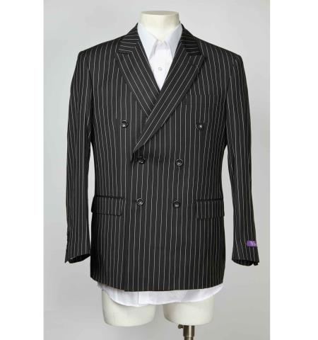 Product# SM606 6 Button Pinstripe Double Breasted Peak Lapel Blazer Online Sale Black