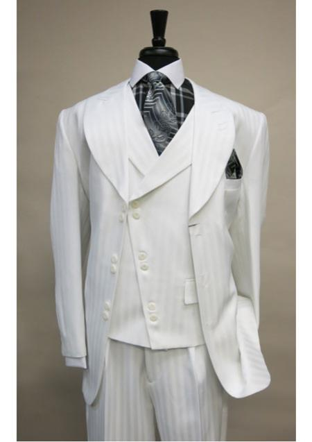 Product# SS-86 Vested 6 button Single Breasted Suit Jacket Satin Striped with Wide Peak Lapel White
