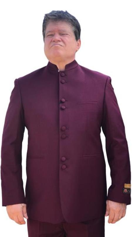 Alberto Nardoni Best men's Italian Suits Brands Mandarin Banded No Collar Suit Burgundy~Maroon Color