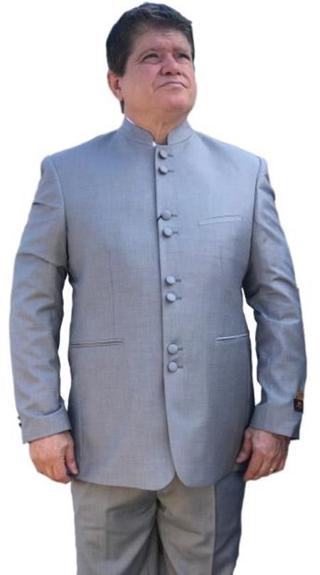 Alberto Nardoni Best men's Italian Suits Brands Light Grey ~ Gray Mandarin Banded No Collar Suit