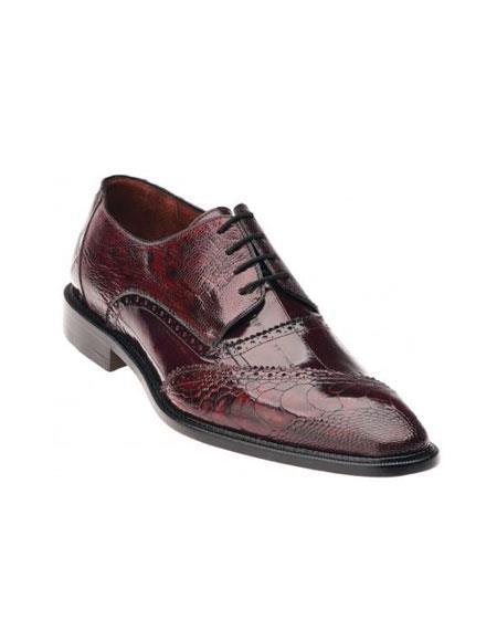 Belvedere attire brand Antique color shade / Scarlet red color shade Genuine Eel / Ostrich Leg Shoes for Online