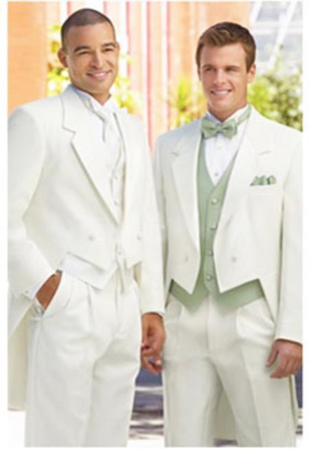 Product# JSM-2244 Ivory ~ cream ~ off white tailcoat tuxedo for men + Any Color Vest
