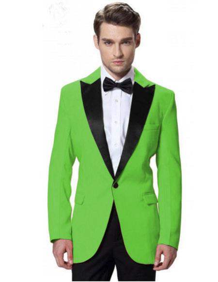 Product# CH2249 Men's Black Lapel Tuxedos Apple Green Jacket with Black Pant One Button Elegant Slim Fit Wedding Suit for Men