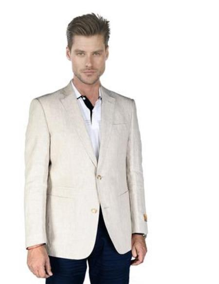 Product# AA392 Sand ~ Natural ~ Beige Men's 2 Piece Linen Causal Outfits Blazer Online Sale Sport Coat Jacket / Beach Wedding Attire For Groom