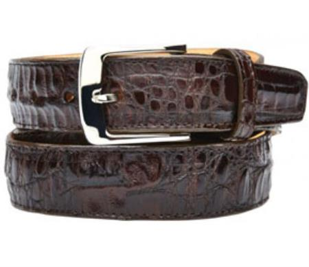 Product# RM1182 Belvedere attire brand Susa Genuine Crocodile brown color shade Belt