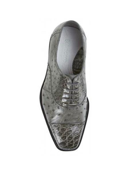 Product# PN_B3 Belvedere attire brand Onesto II Grey Genuine Ostrich / Crocodile ~ Alligator skin Shoes for Online