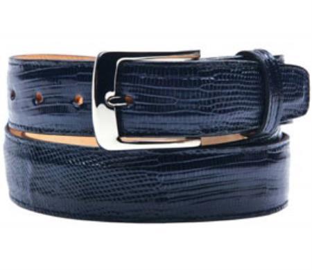 Product# RM1177 Belvedere attire brand Pasta Genuine Lizard Navy Belt