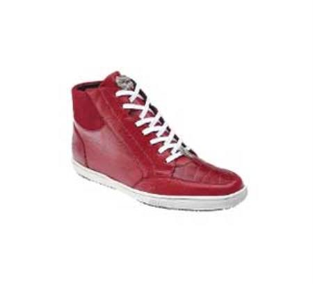 Product# LK21 Belvedere attire brand Franco red color shade Genuine Crocodile ~ Alligator skin / Soft Calf Leather Sneakers