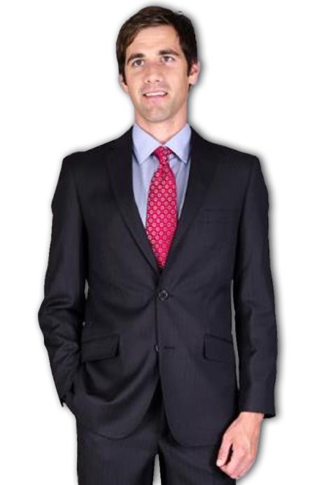 Slim narrow Style Fit Liquid Jet Black Tonal 2-Button Suit