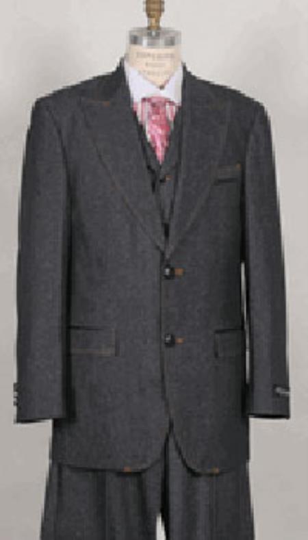 Product# PN_I55 Liquid Jet Black Wide Lapel 3 Piece Jean Fashion Suit For sale ~ Pachuco Mens Suit Perfect for Wedding