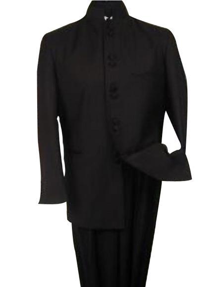 Product# M78 Liquid Jet Black 8 Button no collar mandarin banded collar Nehru Style Suit non back vent coat style coat Pleated Slacks Pants