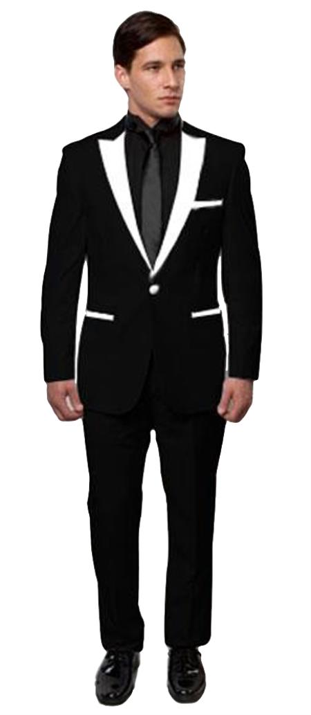 Slim Tux Black with White Lapel
