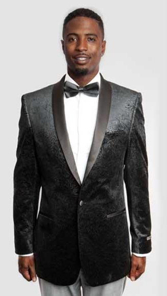 Men's Empire Single Breasted Side Vents Satin Shawl Lapel Black Blazer