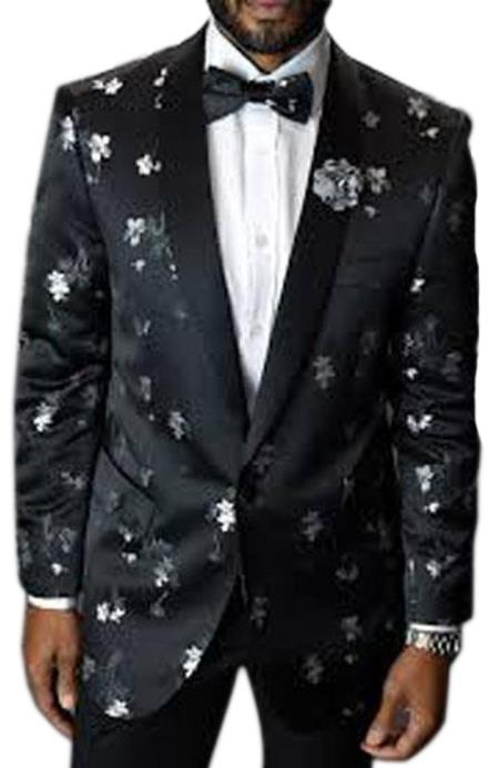 Men's 1 Button Shawl Lapel Black Single Breasted Fashion Flower floral print / Prom / Wedding Blazer Perfect For Prom Clothe - Prom Outfits For Guys