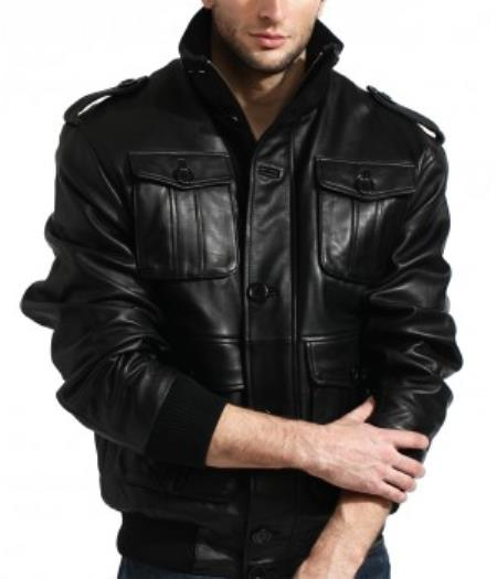 Product# AB124 Military Meets Safari Bomber In 100% Soft Authentic Lambskin Leather Available in Big and Tall Sizes