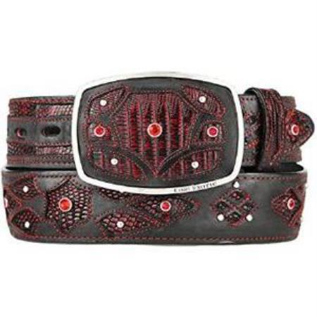 Product# AA516 Liquid Jet Black Cherry Original Lizard Teju Skin Fashion Western Belt