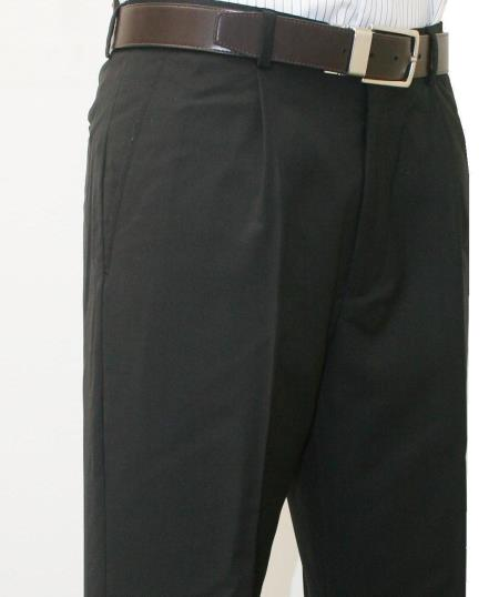 Product# R5 Roma-Veronesi 1 Pleated Slacks Pant 100% Wool Fabric 1/4 Top Pocket+2 Back Pockets with Lining Liquid Jet Black