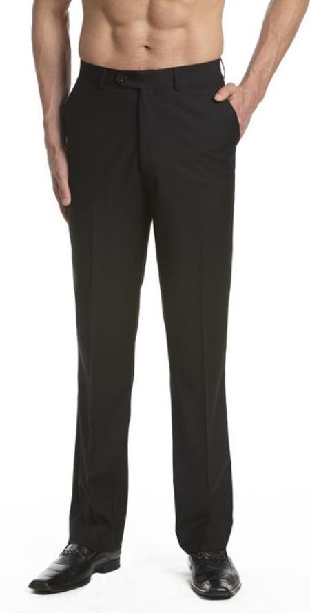Product# AA471 Dress Pants Trousers Flat Front Slacks Liquid Jet Black