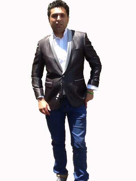 Product# P02X Stage Party Bright Sport Coat / Dinner Jacket Blazer Online Sale Vented Liquid Jet Black with Silver Lapel Clearance Sale Online