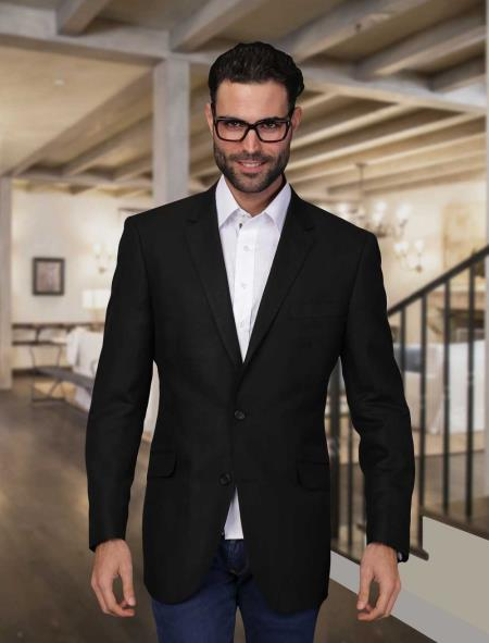 Summer Men's 2 Piece Linen Causal Outfits Light Weight Blazer Online Sale ~ Sport coat ~ Jacket Liquid Jet Black / Beach Wedding Attire For Groom