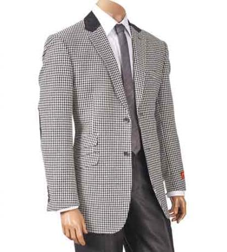 Single Breasted Black/White Hounds Tooth Notch Lapel Elbow Patch Sport Jacket