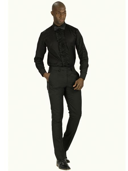 Men's Slim Fit Tuxedo Shirt With Ruffled Center, Removable Buttons Also Available In Black