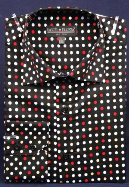Dotted Fancy 100% Cotton Dress Fashion ShirtWith Button Cuff Liquid Jet Black / red color shade
