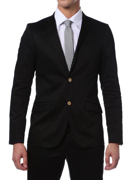 Summer Suit Liquid Jet Black Cotton Skinny Fit Suits for Online