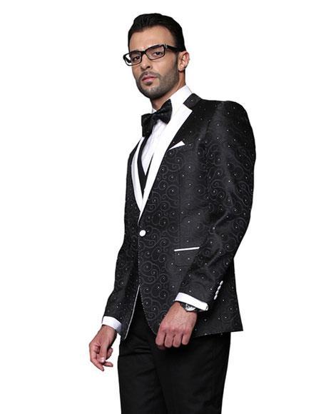 men's Black Sequin Paisley Dinner Jacket Tuxedo Looking Party Entertainer  Blazer Sport coat Two toned White Lapel