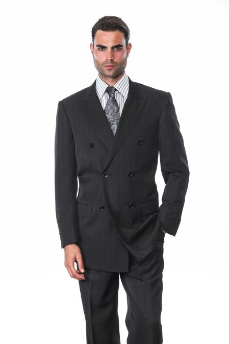 Black DOUBLE BREASTED SUIT WITH Stripe ~ Pinstripe Suit