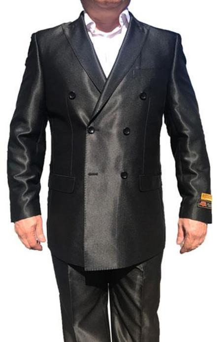Alberto Nardoni Best men's Italian Suits Brands Double Breasted 1920s Style Suits Shiny Flashy Sharkskin Flashy Silky Pleated Pants Tuxedo Looking