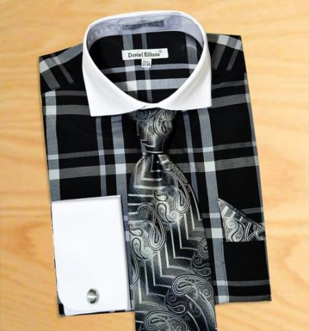 Product# AC-434 Windowpane Plaid Pattern Dress Fashion Shirt/ Tie / Hanky Set With Free Cufflinks Liquid Jet Black / Grey / White