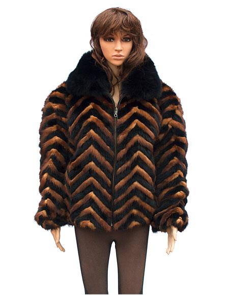 Fur Black/Whiskey Chevron Mink