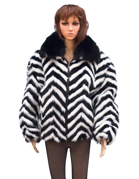 Fur Black/White Chevron Mink