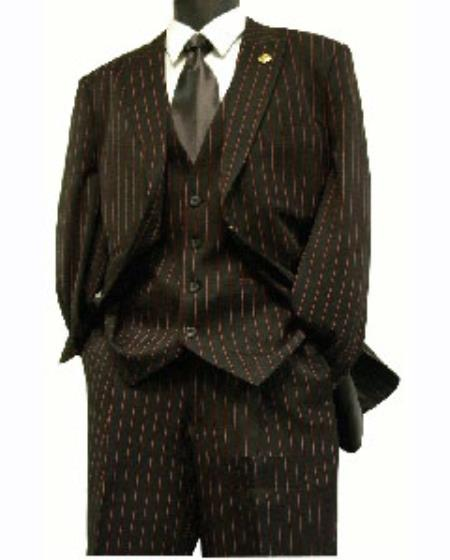 Product# Re11 Pinstripe Long length Zoot Suit For sale ~ Pachuco Mens Suit Perfect for Wedding Liquid Jet Black and red color shade pronounce visible Chalk Gangster Stripe ~ Pinstripe 3 Piece