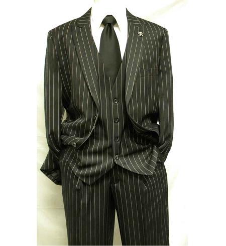 3 piece gangster stripe mars vested fashion suit black
