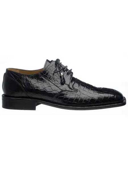 Product# SM737 Ferrini Liquid Jet Black Classic Italian Lace Up Design Square Toe Alligator skin Shoes