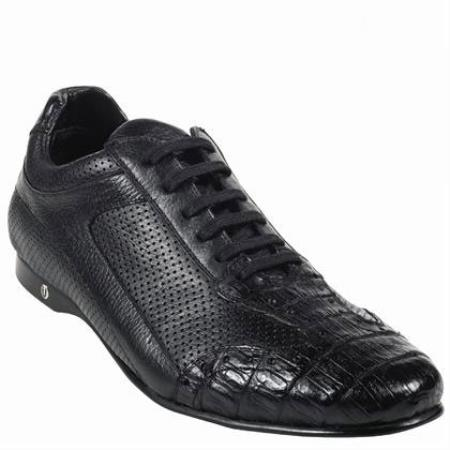 Product#KA2227 High Top Exotic Skin Sneakers for Gator Belly Skin Shoe – Liquid Jet Black