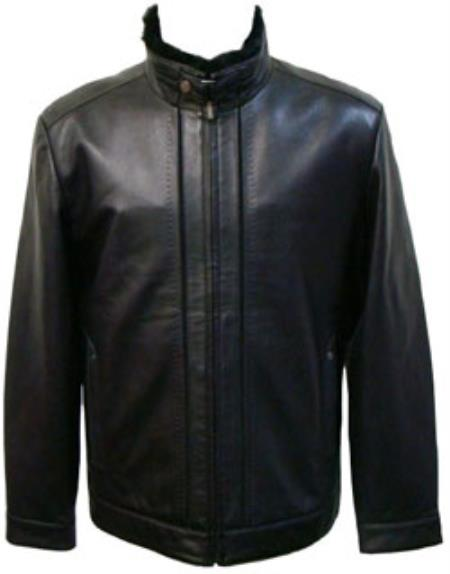 Product# MK856 Liquid Jet Black Lamb Leather Removable Faux Fur-Lined Collar Jacket Available in Big and Tall Sizes