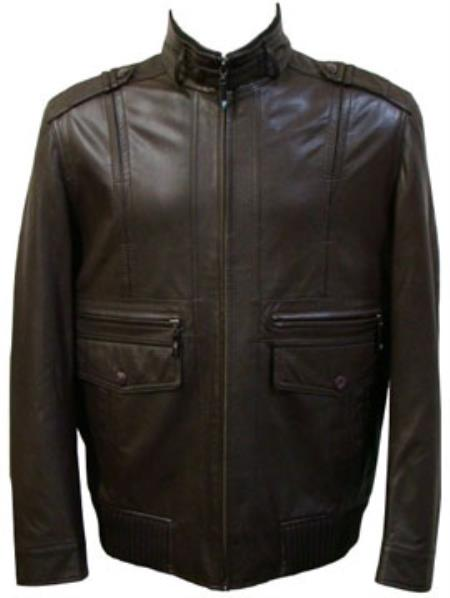 Product# MK857 Liquid Jet Black Front Pocket Lamb Leather Zip Jacket Available in Big and Tall Sizes