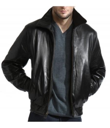 Classic Liquid Jet Black Lambskin Leather Simple Bomber Jacket Available in Big and Tall Sizes