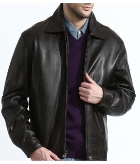 Product# PN88 Lambskin, James Dean Classic Front-Zip Jacket In 100% Genuine Lambskin Leather Available in Big and Tall Sizes