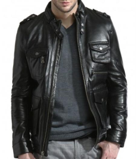 Liquid Jet Black Lambskin Leather Military Ultimate Moto Jacket Available in Big and Tall Sizes