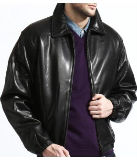 Product# PN80 Classic Liquid Jet Black Lambskin Leather Bomber Jacket A Classic Body Made From Top Grain Available in Big and Tall Sizes