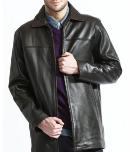 Basic Liquid Jet Black 3/4 Leather Jacket, Liner, Soft Lambskin Leather Available in Big and Tall Sizes
